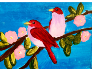 two-pink-red-birds-on-branch